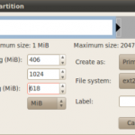 Create a new partition dialog